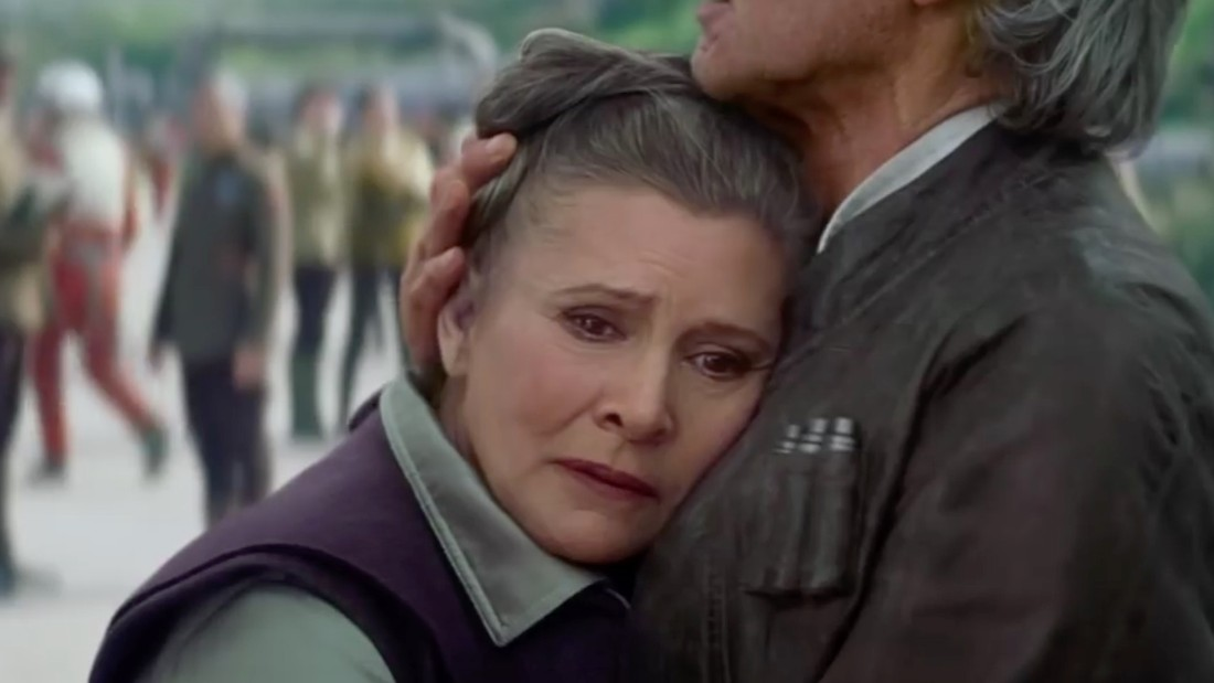 "She fell for a guy who famously answered her ""I love you"" with ""I know,"" but by the looks of things, Solo's consoling her here, not making her weep. Family quarrels aside, though, the princess looks heartbroken in this very brief shot from one of the trailers. To us, this looks like a goodbye. And that brings us neatly into the next question ..."