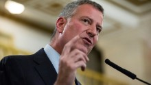New York City Mayor Bill de Blasio announces a new initiative for public housing for homeless people on November 18, 2015 in New York City.