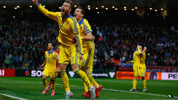 Four sides booked their place at Euro 2016 after winning a two-legged play-off tie.  Ukraine will be in France next year after they drew 1-1 with Slovenia -- enough for a 3-1 aggregate victory. They co-hosted the 2012 edition with Poiand, where they failed to progress to the quarterfinals.