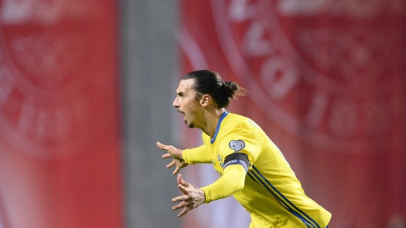 Zlatan Ibrahimovic prolonged his international career after securing Sweden a Euro finals place with a 4-3 aggregate win over neighbors Denmark. The Swedes -- finalists at the 1958 world cup -- will partake in their fifth successive European Championship, their sixth in total.
