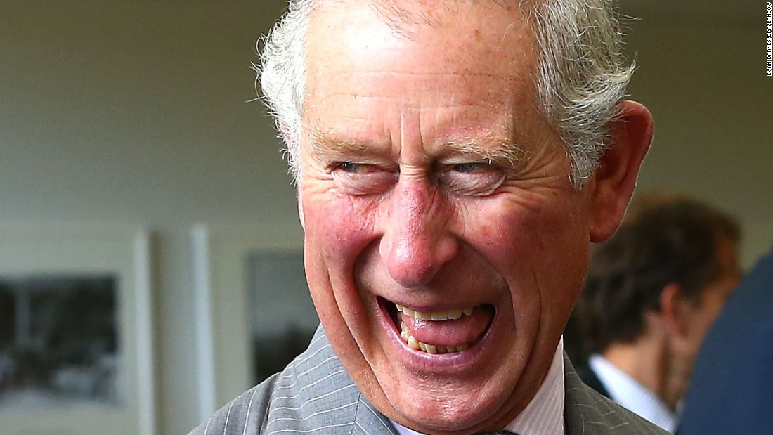 Britain's Prince Charles laughs while visiting a research institute in Nelson, New Zealand, on Saturday, November 7.