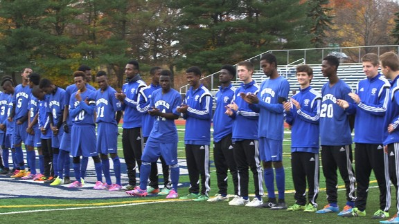 """A  frame from the documentary, """"One Team: The Story of the Lewiston High School Blue Devils."""""""