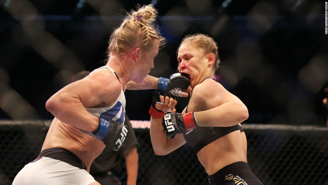 The undefeated Rousey was an overwhelming favorite to retain the title. But Holm used her boxing skills to pepper the champ with jabs while avoiding takedowns.