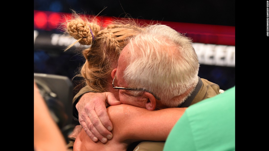 Holm is close to her father, Roger Holm, a longtime minister at an Albuquerque church. He has never missed one of her fights.