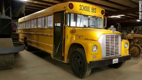 The school bus is now housed at Bright's Museum in Le Grand, California.