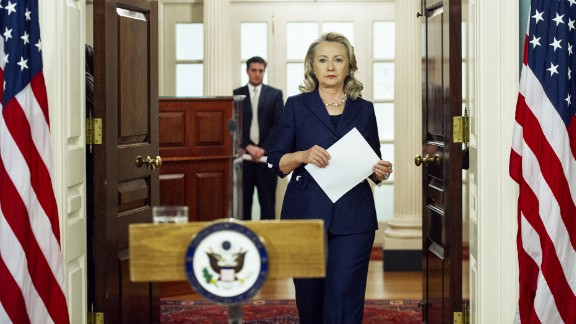Secretary of State Hillary Clinton arrives to speak on September 12, 2012, on the killing of US Ambassador to Libya Christopher Stevens and 3 staff members at the U.S. Consulate building in Benghazi, Libya, from the U.S. Department of State.