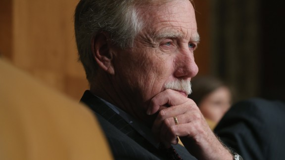 WASHINGTON, DC - JUNE 17:  Senate Budget Committee member Sen. Angus King (I-ME) listens to testimony from Congressional Budget Office Director Keith Hall during a hearing in the Dirksen Senate Office Building on Capitol Hill June 17, 2015 in Washington, DC. Hall told the committee that federal debt would climb to over 100-percent of the total GDP by 2040 without major spending course correction.  (Photo by Chip Somodevilla/Getty Images)