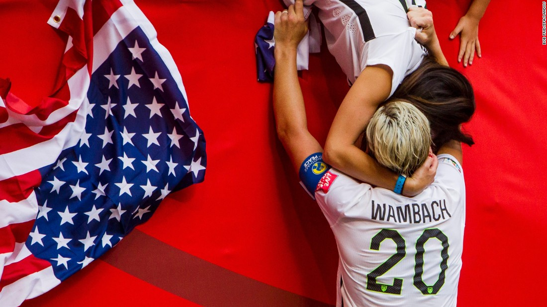 "U.S. soccer player Abby Wambach, left, celebrates with her wife, Sarah Huffman, after the Americans defeated Japan 5-2 <a href=""http://www.cnn.com/2015/06/12/football/gallery/usa-highlights-womens-world-cup/index.html"" target=""_blank"">to win the Women's World Cup</a> on Sunday, July 5. The United States has won more Women's World Cups -- three -- than any other nation."