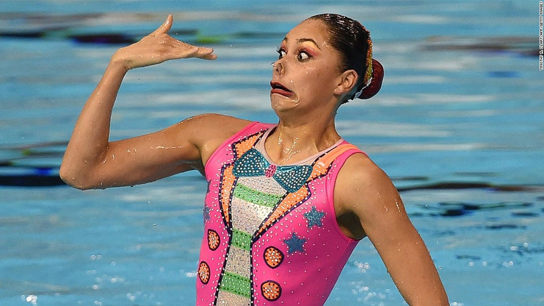 A member of Mexico's synchronized-swimming team competes at the Pan American Games in Toronto on Saturday, July 11. Mexico won silver in the event.
