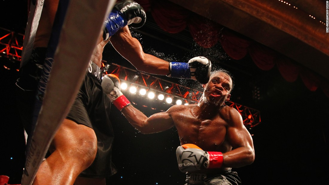Roy Jones Jr. punches Eric Watkins during their bout in Mashantucket, Connecticut, on Sunday, August 16. Jones, a former world champion in four weight classes, won the fight with a sixth-round knockout.