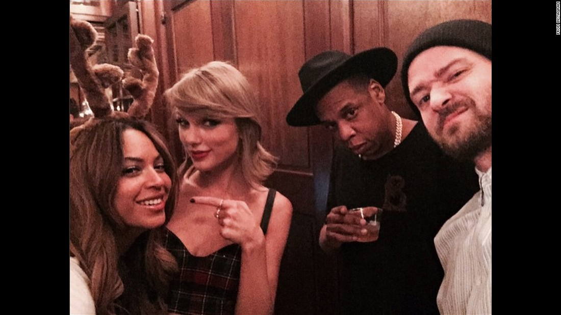 "From left, singer Beyonce, singer Taylor Swift, rapper Jay Z and singer Justin Timberlake appear in a selfie <a href=""https://twitter.com/taylorswift13/status/561582116908306432"" target=""_blank"">tweeted by Swift</a> on Saturday, January 31. ""Happy Birthday, ‪@jtimberlake!"" she wrote. ""Thank you for your music, comedy, daaaahncing, songwriting, and for taking this selfie."""