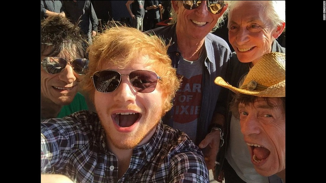 "Singer Ed Sheeran takes a selfie with the Rolling Stones on Saturday, June 27. ""Just sung a song on stage with these ladz,"" <a href=""https://instagram.com/p/4dPO4gEpKv/"" target=""_blank"">Sheeran said on Instagram.</a>"