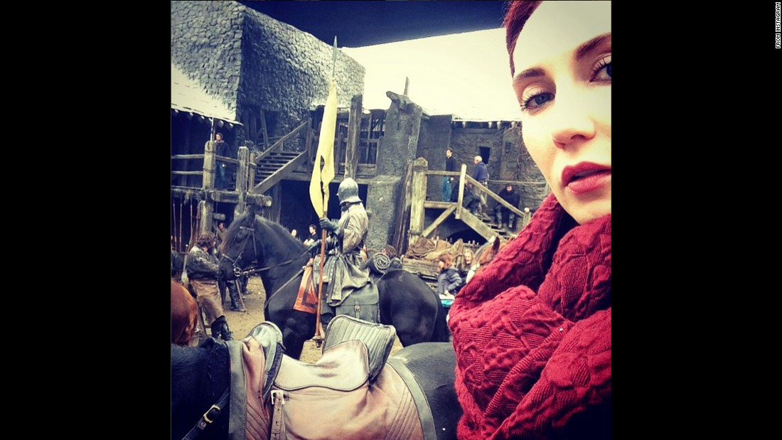 "Carice van Houten, the actress who plays Melisandre in the television series ""Game of Thrones,"" took this <a href=""https://instagram.com/p/2olYSiizFX/"" target=""_blank"">""meliselfie""</a> from the set on Wednesday, May 13."