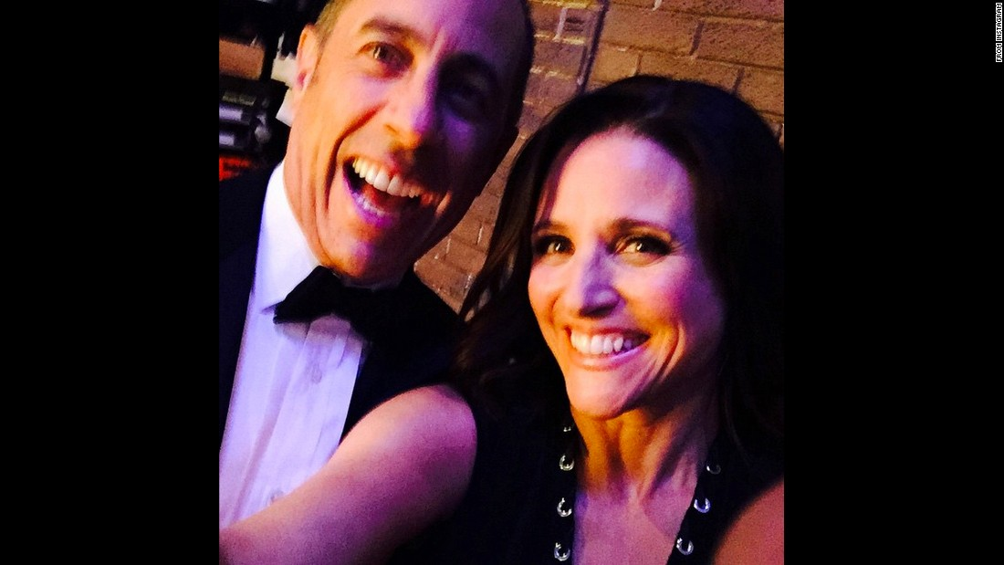 "Actress Julia Louis-Dreyfus <a href=""https://instagram.com/p/283EBvOxm9/"" target=""_blank"">takes a selfie with comedian Jerry Seinfeld</a> backstage at David Letterman's final show on Wednesday, May 20. The two former ""Seinfeld"" stars were among <a href=""http://money.cnn.com/2015/05/20/media/david-letterman-signs-off-late-show/"" target=""_blank"">the celebrities who delivered the show's last ""Top 10"" list.</a>"