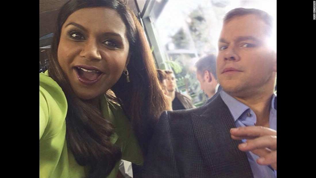 "Mindy Kaling <a href=""http://instagram.com/p/yk_rSKpQ0S/?modal=true"" target=""_blank"">takes a selfie</a> with fellow actor Matt Damon for a Nationwide Insurance commercial that aired during the Super Bowl on Sunday, February 1. ""Proof I'm not invisible. Just look at how into me he is!"" said Kaling, referencing the ad's premise."