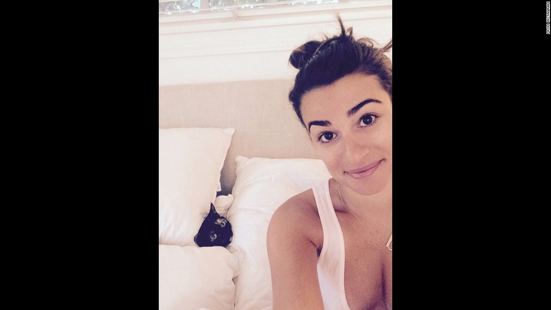 "Actress Lea Michele and a cat <a href=""https://instagram.com/p/xj8HX3iD-S/?taken-by=msleamichele"" target=""_blank"">play ""peek a boo""</a> on Wednesday, January 7."