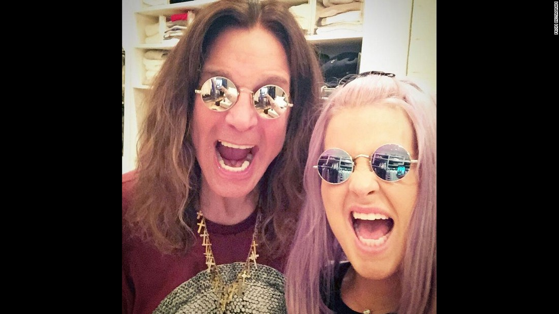 "Singer Kelly Osbourne takes a selfie with her dad, legendary rocker Ozzy Osbourne, on Tuesday, July 21. She wrote ""#twins"" <a href=""https://instagram.com/p/5Ylwc0Ab_2/"" target=""_blank"">on her Instagram post.</a>"