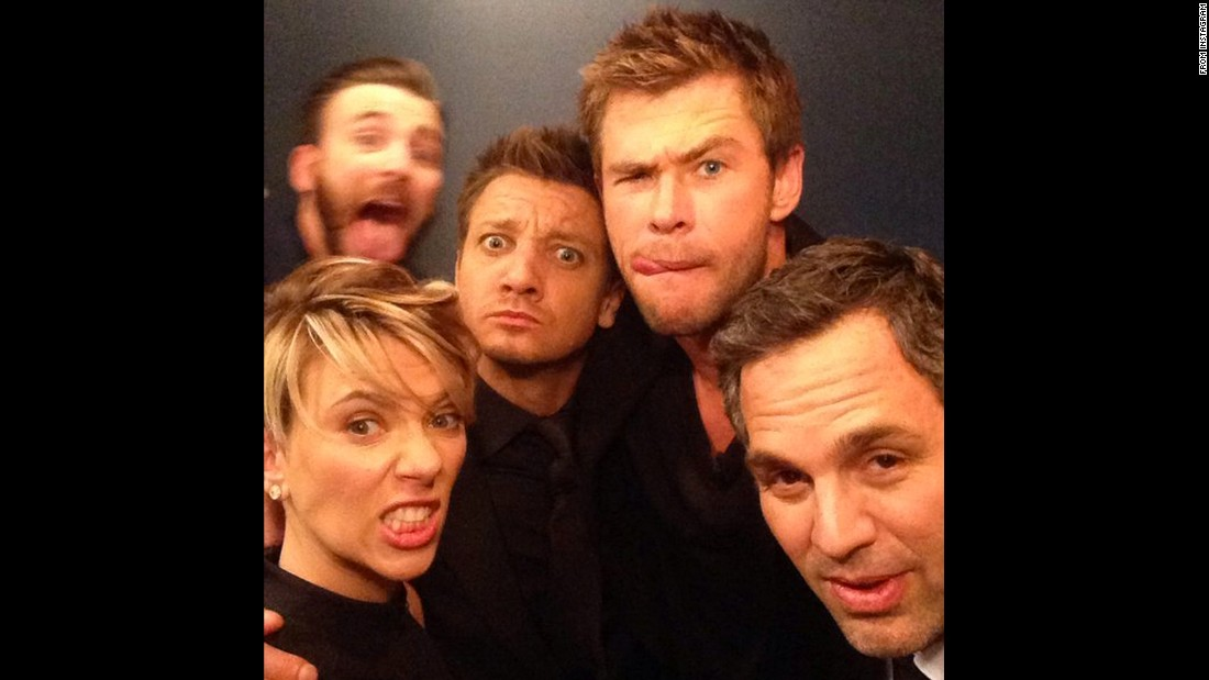 "The stars of the ""Avengers"" film series <a href=""https://twitter.com/JimmyKimmelLive/status/587774422997606400"" target=""_blank"">take a silly selfie backstage</a> at Jimmy Kimmel's show on Monday, April 13. From left are Scarlett Johansson, Chris Evans, Jeremy Renner, Chris Hemsworth and Mark Ruffalo."