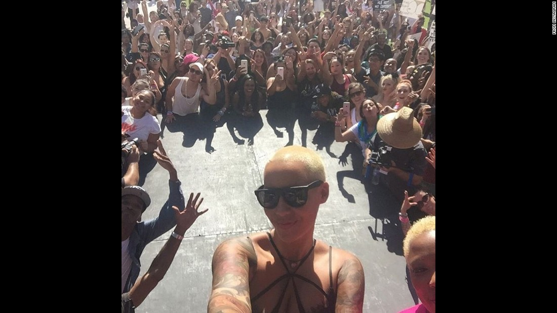 "Model Amber Rose <a href=""https://instagram.com/p/8ZDxC2Eq-v/?taken-by=amberrose"" target=""_blank"">takes a selfie</a> during a ""SlutWalk"" in Los Angeles on Saturday, October 3. <a href=""http://www.cnn.com/2015/10/04/living/amber-rose-slutwalk-feat/"" target=""_blank"">SlutWalks started</a> in 2011 in response to a flippant remark reportedly made by a police officer after a spate of sexual assaults on the campus of Canada's York University. According to local media reports, the officer said: ""Women should avoid dressing like sluts in order not to be victimized."" Women in Toronto, outraged by the comment, took to the streets in lingerie and skimpy clothing to spread the message that women should not be subject to sexual violence regardless of what they're wearing. The notion spread, and SlutWalks now occur year-round across the globe."