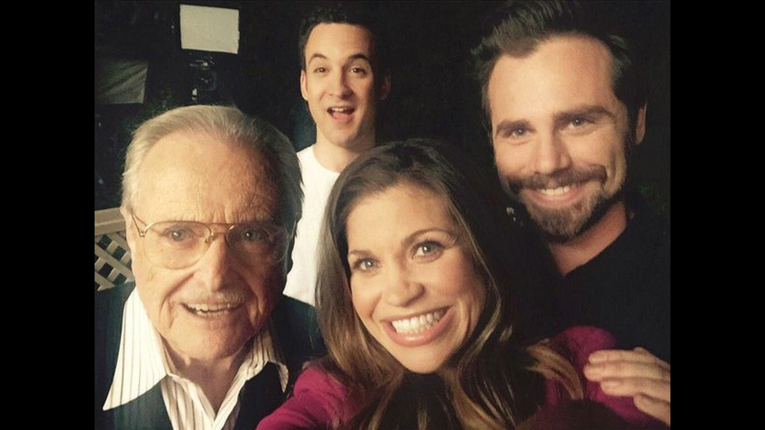 "Actor Ben Savage, top, <a href=""https://twitter.com/BenSavage/status/555472617591681024"" target=""_blank"">tweeted a selfie</a> with his former ""Boy Meets World"" co-stars on Wednesday, January 14. In front of Savage, from left, are William Daniels, Danielle Fishel and Rider Strong. Savage called it ""The Feeny Crew,"" a reference to Daniels' character on the television show."