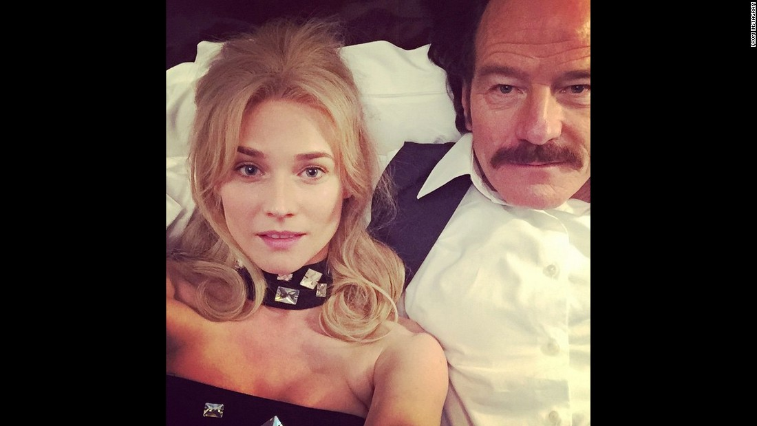 """In bed with Bryan Cranston!!!"" <a href=""https://instagram.com/p/1dN9BvDMCG/?taken-by=dianekrugerperso"" target=""_blank"">actress Diane Kruger said on Instagram</a> on Tuesday, April 14. The two were shooting a scene for the upcoming film ""The Infiltrator."""