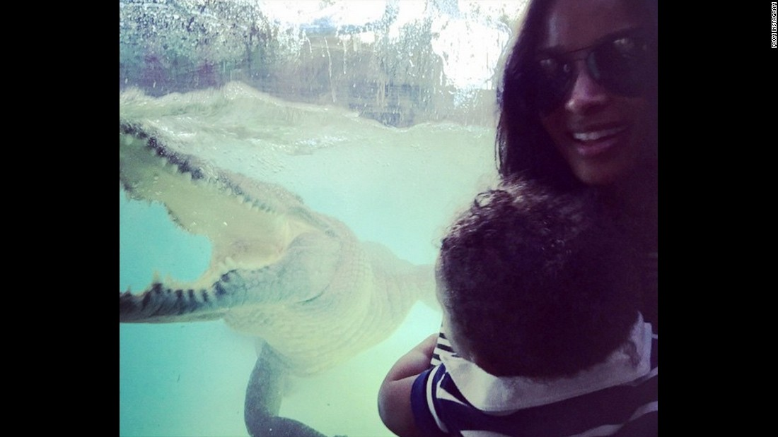 "Singer Ciara gets close to a crocodile in Australia on Tuesday, February 24. ""Unreal!"" she said <a href=""https://instagram.com/p/zenoIiSHkq/?modal=true"" target=""_blank"">on Instagram.</a>"