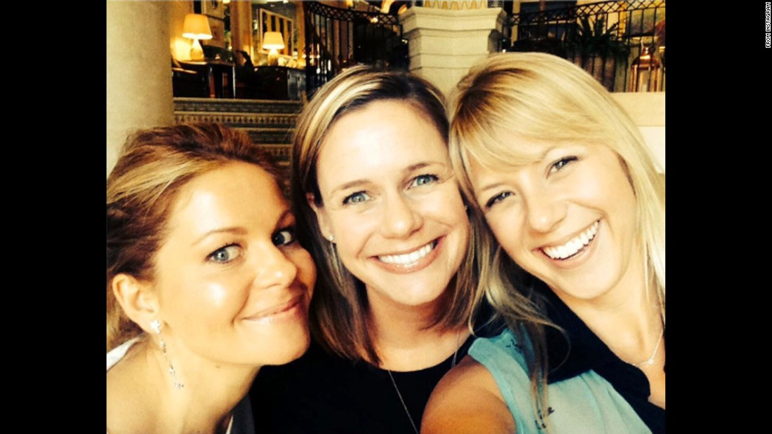 "Actress Candace Cameron Bure, left, takes a selfie with two of her former ""Full House"" co-stars -- Andrea Barber, center, and Jodie Sweetin -- on Saturday, August 1. The three are also part of the cast shooting the show's reboot, ""Fuller House."" ""Love these girls,"" <a href=""https://instagram.com/p/53NRnwp8Z2/"" target=""_blank"">Bure said on Instagram.</a>"
