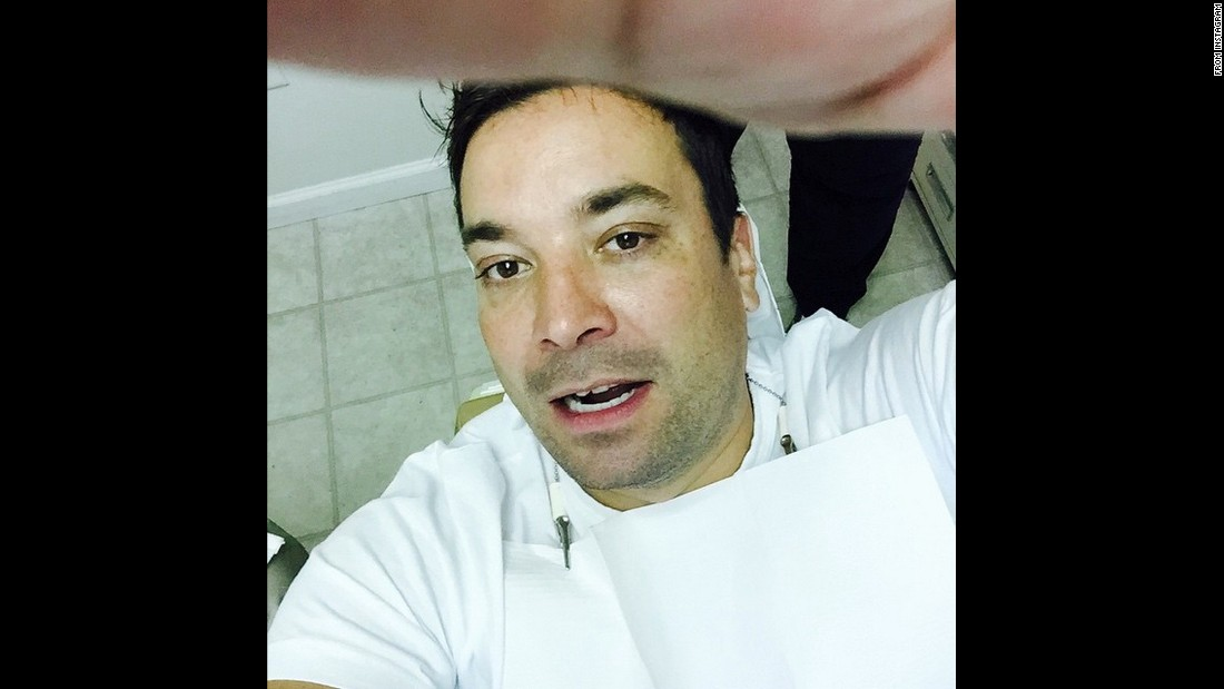 "Late-night television host Jimmy Fallon takes a selfie from a dentist chair on Friday, August 21. ""Chipped front tooth trying to open tube of scar tissue repair gel for recovering finger injury,"" <a href=""https://instagram.com/p/6qBi9UPZ15/"" target=""_blank"">Fallon said on Instagram</a>. ""Thank you Dr. Jobe DDS! #BestSummerEver."""