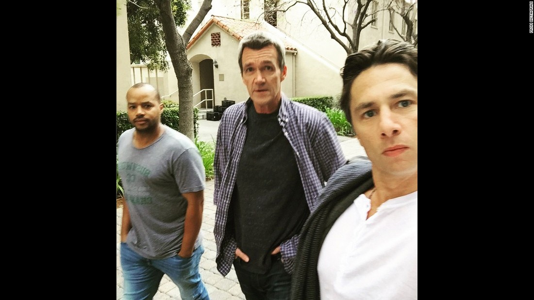 "Actor Zach Braff, right, <a href=""https://instagram.com/p/2XrqB_v_OD/"" target=""_blank"">posted a selfie with his former ""Scrubs"" stars</a> Donald Faison, left, and Neil Flynn on Thursday, May 7. ""Reunited,"" Braff said on Instagram."