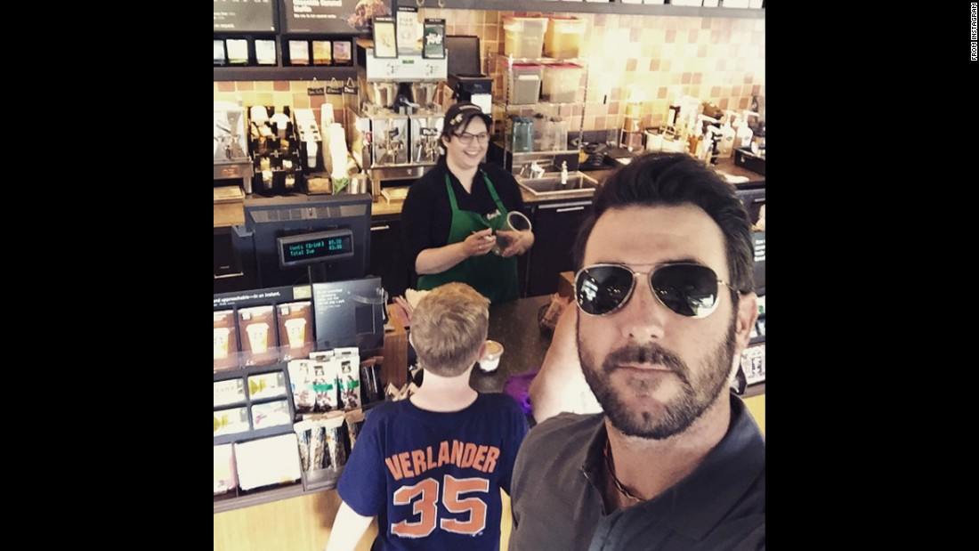 "Baseball pitcher Justin Verlander takes a selfie with an unsuspecting young fan while standing in a Starbucks line on Friday, March 27. ""Love having my fans support!!"" <a href=""https://instagram.com/p/0u8ifmMZC4/?taken-by=justinverlander"" target=""_blank"">Verlander said on Instagram.</a> ""This little guy was pretty surprised when he turned around."""