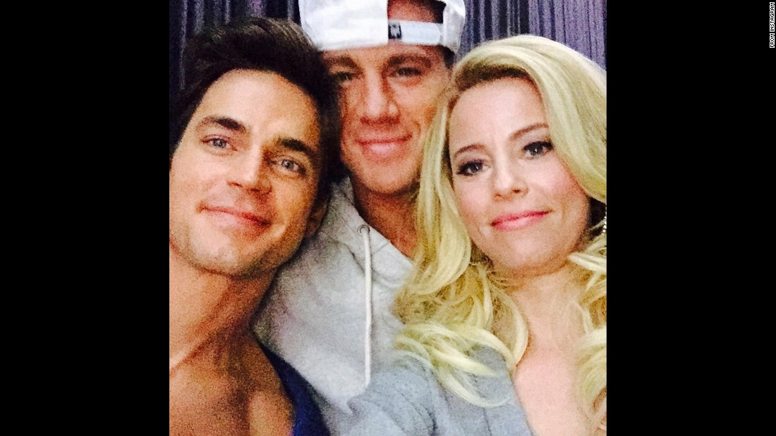 "Actress Elizabeth Banks takes a selfie with two of her ""Magic Mike XXL"" co-stars -- Matt Bomer, left, and Channing Tatum -- on Monday, June 15. ""These lovelies are back!"" <a href=""https://instagram.com/p/39gXQUJXR7/"" target=""_blank"">Banks said on Instagram.</a>"
