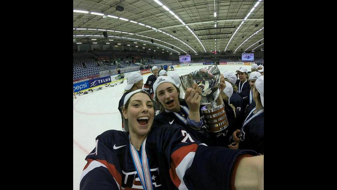 "Hockey player Hilary Knight, center,<a href=""https://twitter.com/Hilary_Knight/status/584471458677686273"" target=""_blank""> tweeted this selfie</a> Saturday, April 4, after Team USA won the World Championships. ""U-S-A ‪#WorldChampions,"" said Knight, who was named the tournament's Most Valuable Player."