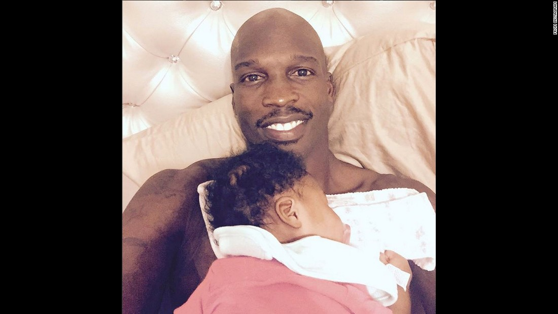 "Pro football player Chad Johnson posted this selfie of his daughter Kennedi sleeping on his chest. ""When you really want to play FIFA15 but you can't because if you move Baby Kennedi she will wake up so you fake smile to hide the hurt,"" <a href=""https://instagram.com/p/6OqlvNPrvK/"" target=""_blank"">Johnson said on Instagram</a> on Tuesday, August 11."