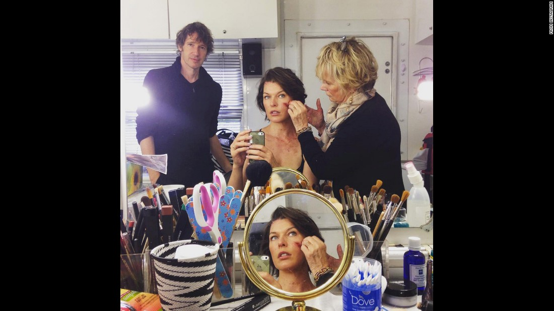 """Resident Evil"" star Milla Jovovich takes a selfie Tuesday, September 1, as she has makeup tests done for the film franchise's latest sequel. ""Our director came in for a peek. #moreblood #hero,"" <a href=""https://instagram.com/p/7Fj9pnzMvC/"" target=""_blank"">she said on Instagram.</a>"
