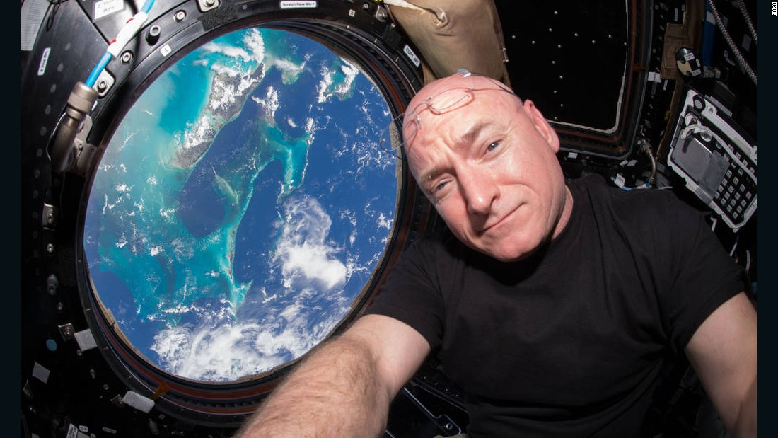 NASA astronaut Scott Kelly takes a selfie aboard the International Space Station on Sunday, July 12.