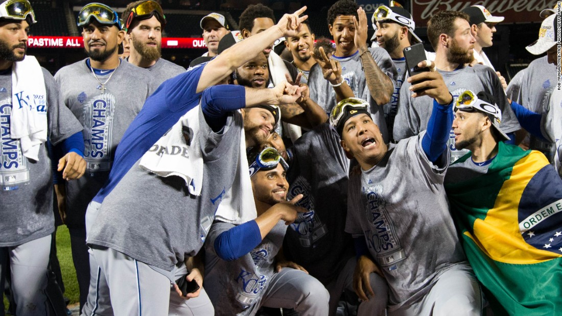 Members of the Kansas City Royals take a selfie at New York's Citi Field after winning the World Series on Sunday, November 1. It was the Royals' first title since 1985.