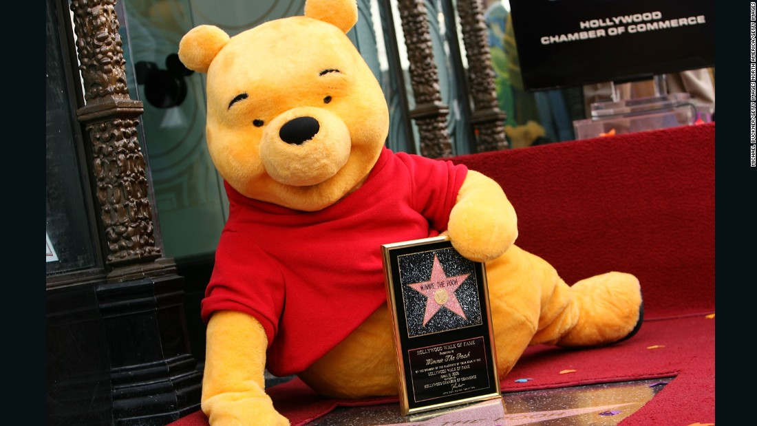 The adorable bear has been re-imagined in Disney's cartoons, pictured here on the Hollywood Hall of Fame in 2006.