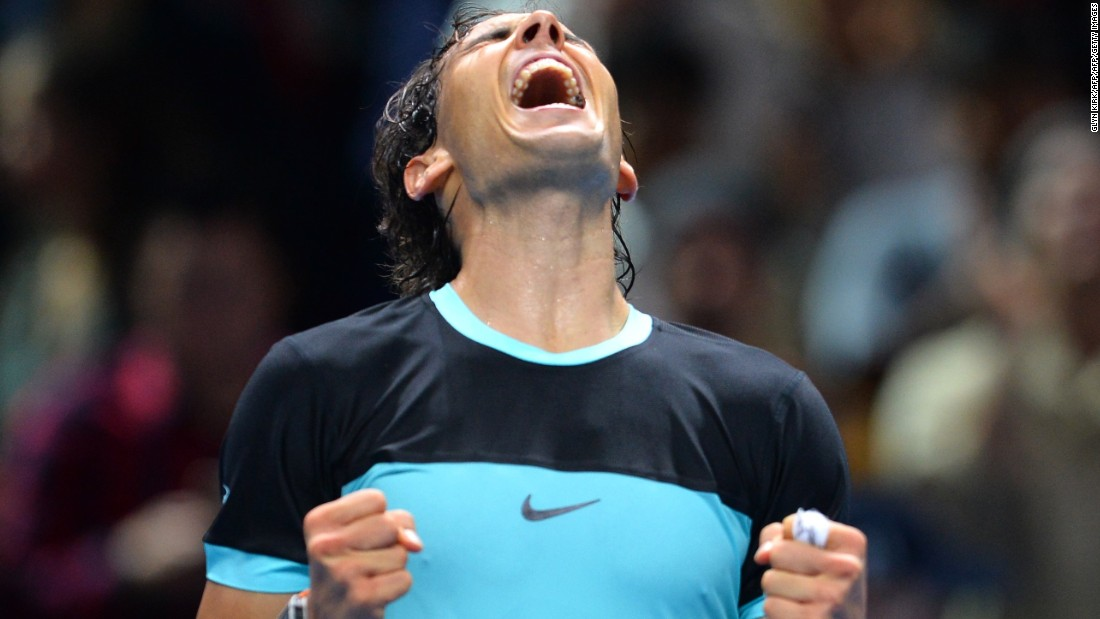 Rafael Nadal celebrates after he beat David Ferrer 6-7 (2-7) 6-3 6-4 at the World Tour Finals Friday. He ended the group stage 3-0.