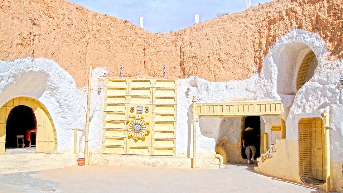"<strong>Luke Skywalker's home (Hotel Sidi Driss, Matmata, Tunisia): </strong>Built centuries ago by indigenous Berbers, this subterranean cave homes were converted to a hotel which George Lucas used as Luke Skywalker's childhood home in the original ""Star Wars"" film. It's still a hotel and contains props used in ""Attack of the Clones."""