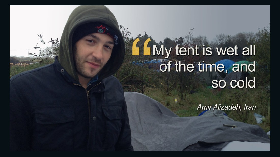 "Around 6000 refugees live in squalid conditions in the Jungle camp in Calais, Northern France. Amir Alizadeh, from Iran said: ""One month I'm here, and my problem is no medicine, all this rubbish here and all this rain."""