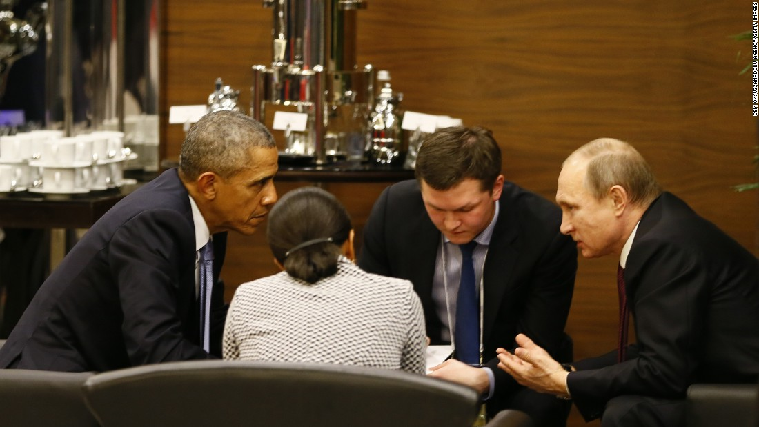"U.S. President Barack Obama, left, speaks with Russian President Vladimir Putin prior to the opening session of the G20 summit in Antalya, Turkey, on Sunday, November 15. Later, an Obama aide said the two men <a href=""http://www.cnn.com/2015/11/15/politics/paris-attacks-obama-summit/"" target=""_blank"">appeared to reach an agreement</a> on a political path forward in Syria -- though U.S. officials said a substantial shift in strategy toward combating the ISIS militant group was not in the works."