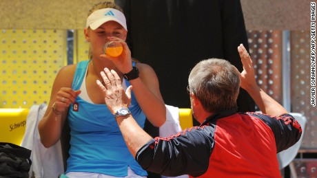 Danish Caroline Wozniacki listens to her coach Sven Groeneveld during their final match of the WTA Madrid Open claycourt tournament against Russian Dinara Safina on May 17, 2009 in Madrid.  AFP PHOTO / JAVIER SORIANO (Photo credit should read JAVIER SORIANO/AFP/Getty Images)