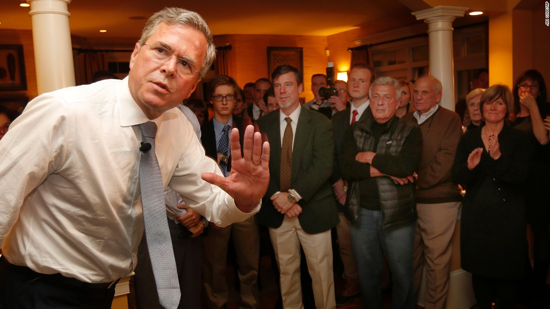 Republican presidential candidate Jeb Bush waves to guests before speaking at a campaign stop on Wednesday, November 18, in Bedford, New Hampshire.