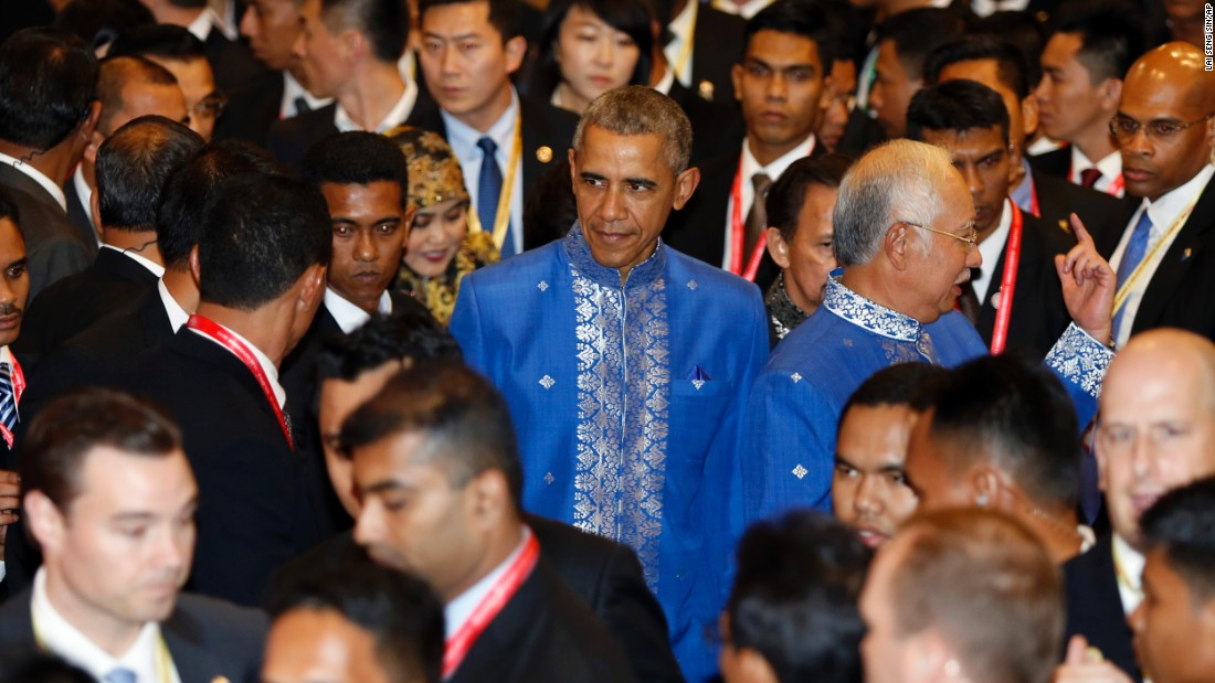 President Barack Obama arrives for the Gala Dinner at the Association of Southeast Asian Nations summit in Kuala Lumpur, Malaysia, Saturday, November 21.