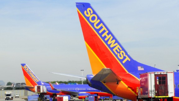 Southwest airlines planes on the tarmac at Chicago