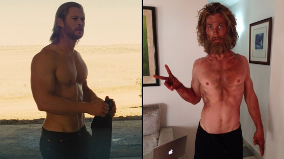 "If you know Chris Hemsworth as the mighty Thor -- at left in 2011 -- his diminished size and scraggly face for the upcoming film ""In the Heart of the Sea"" might come as a shock. Hemsworth tweeted the photo on the right in November 2015. ""Just tried a new diet/training program called"