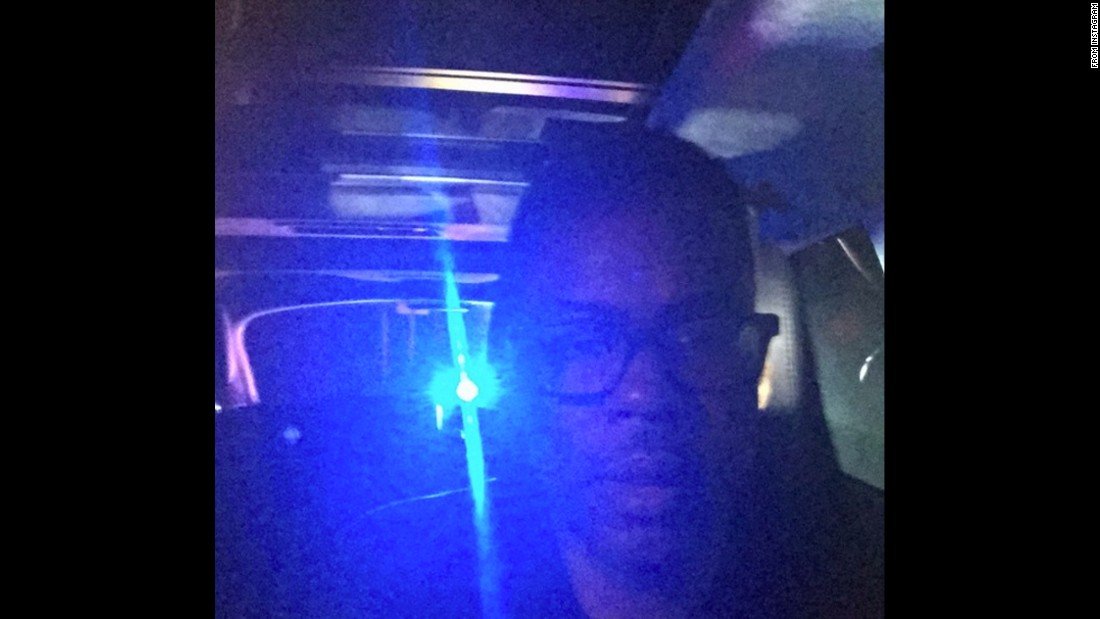 """Stopped by the cops again wish me luck,"" <a href=""https://twitter.com/chrisrock/status/582767497272803328"" target=""_blank"">tweeted comedian Chris Rock</a> on Tuesday, March 31. <a href=""http://www.cnn.com/2015/04/02/us/chris-rock-pulled-over-police-selfies-feat/"">He posted similar photos</a> in February."