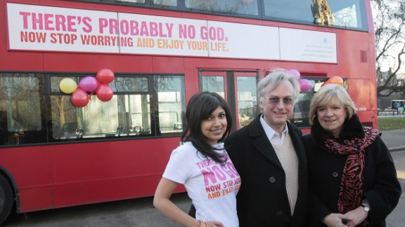 Richard Dawkins posing for an atheist advertising campaign