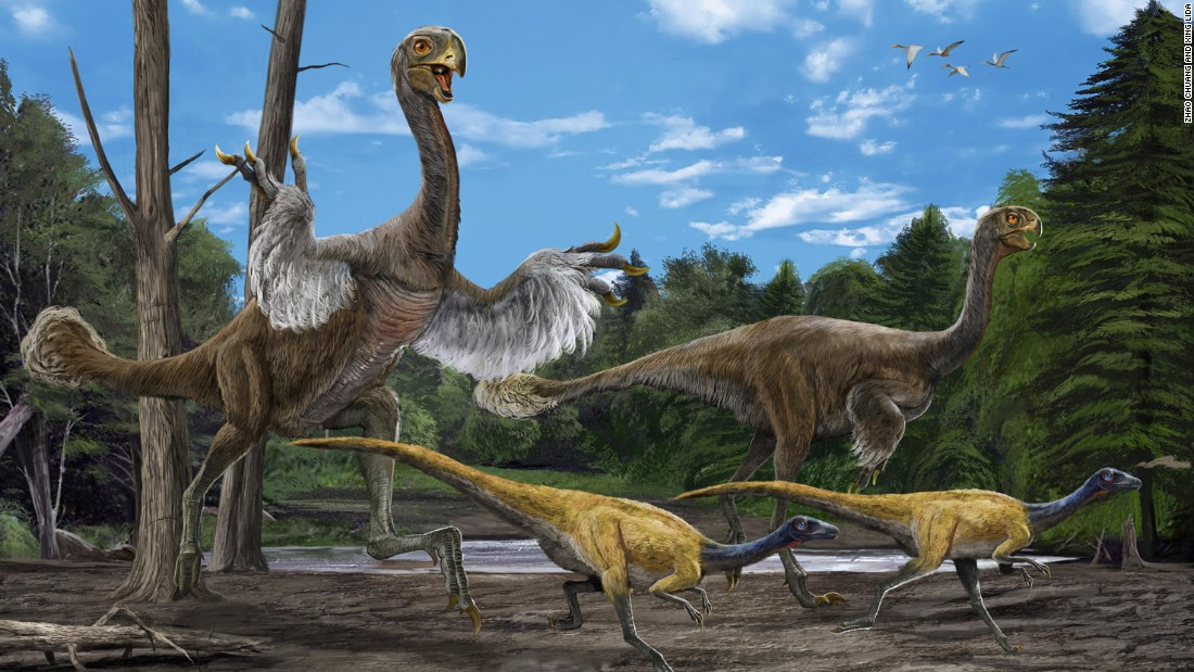 "In 2005, paleotologist Xu Xing and a group Chinese paleontologists <a href=""http://www.nature.com/news/2007/070611/full/news070611-9.html"" target=""_blank"">excavated the bones of this giant bird-like dinosaur</a>. It's believed to be 8 meters long and weigh 1.4 tons. Its arms were long and legs were bird-like."