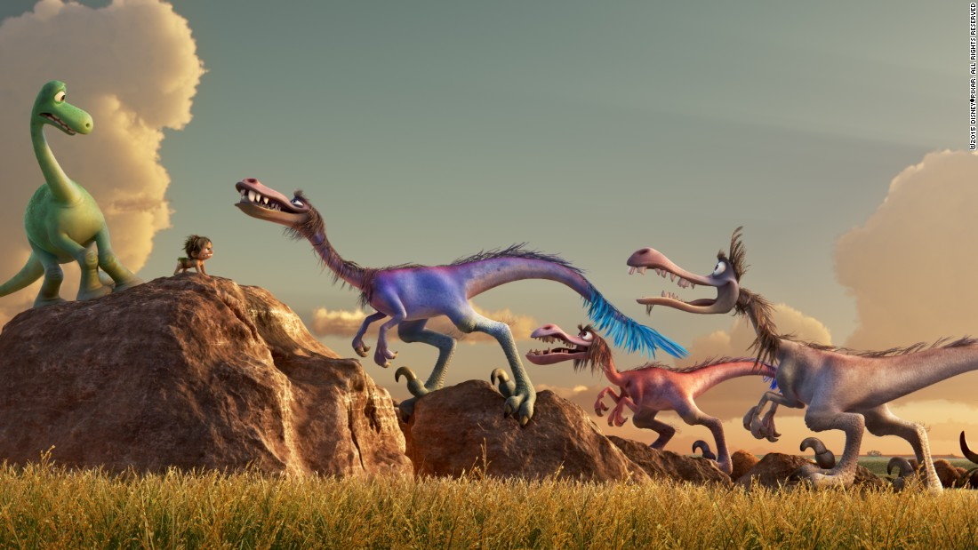 "Popular culture has been slow to embrace feathered dinosaurs, which feel so different to the scaly, green creatures of childhood books. But in Disney Pixar's new animated movie ""The Good Dinosaur,"" which takes place in a world where dinosaurs didn't go extinct, the raptors sport hairy mullets. Click through for more movie dinosaurs."